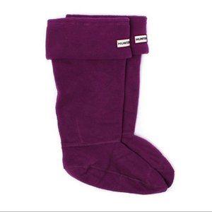 Hunter Kids Fleece Cuffed Deep Plum Boot Socks